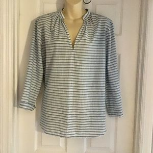 GAP Striped Textured Cotton Tunic Top Small